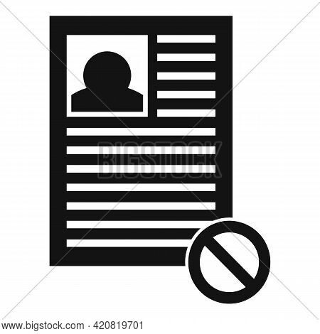 Jobless Cv Icon. Simple Illustration Of Jobless Cv Vector Icon For Web Design Isolated On White Back