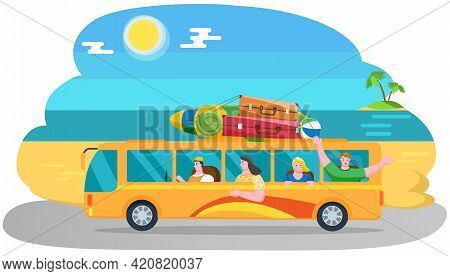 Car Summer Trip. Happy People On Holidays. Traveler Bus On Background Of Beach Landscape. Tourism Ar