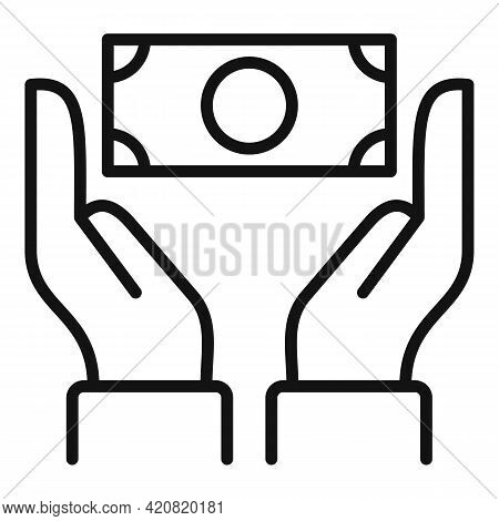 Take Cash Money Icon. Outline Take Cash Money Vector Icon For Web Design Isolated On White Backgroun