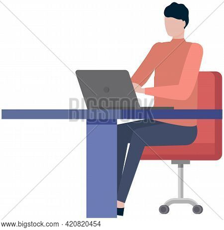 Office Worker Male Character At Table With Laptop. Businessman Or Clerk Working At His Office Workpl