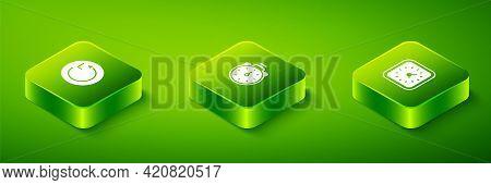Set Isometric Stopwatch, Clock And Radius Icon. Vector