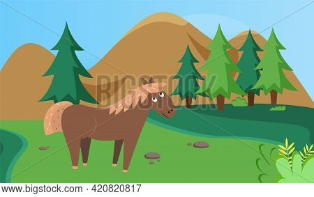 Wild Horse Is Resting In Clearing. Wild Animal In Nature. Mixed Forest Landscape With Trees And Gree