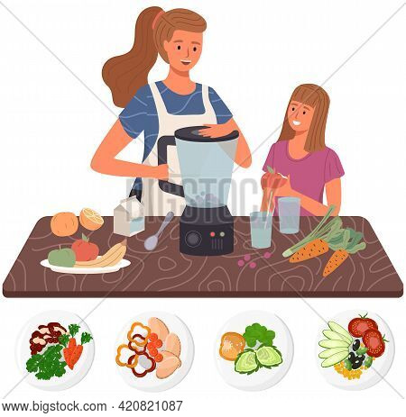 People Cooking Vegetarian Meals. Proper Nutrition, Healthy Lifestyle And Vegetarianism Concept. Proc