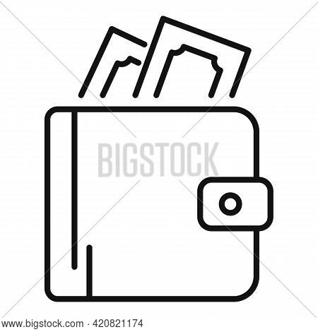 Money Wallet Icon. Outline Money Wallet Vector Icon For Web Design Isolated On White Background