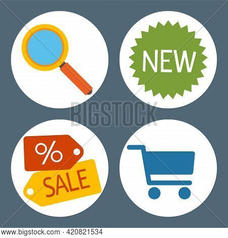 Set Of Flat Shopping Icons. Online Store Business Symbols Sale, Search With Magnifying Glass, New Pr