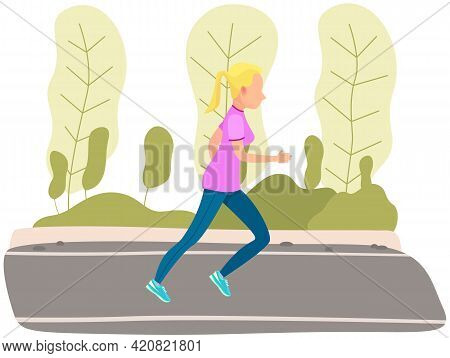 Girl Running In Park. Morning Running Of Sportswoman In Fresh Air. Sports Activity And Healthy Lifes