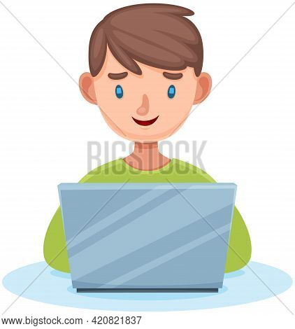 Boy Sitting With Laptop Serfing Internet On White Background, Typing On Keyboard, Writing Message. S