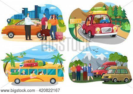 Set Of Illustrations On Theme Of Traveling World By Car. Friends Come By Truck To Forest. People Res