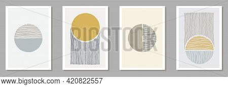 Painted Modern Posters Vector Set. Watercolor Spots Backgrounds.
