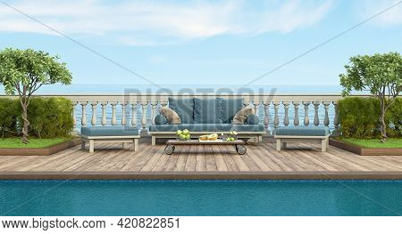 Garden With Swimming Pool And Retro Sofa In Front Of A Classic Balustrade - 3d Rendering