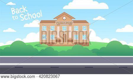 Flat Illustration Of School Building For Back To School Banner Or Poster Design