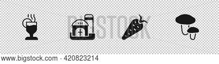 Set Mulled Wine, Farm House, Carrot And Mushroom Icon. Vector