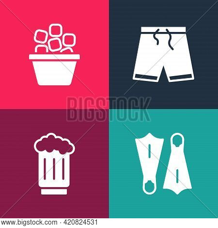 Set Pop Art Rubber Flippers For Swimming, Wooden Beer Mug, Swimming Trunks And Ice Bucket Icon. Vect