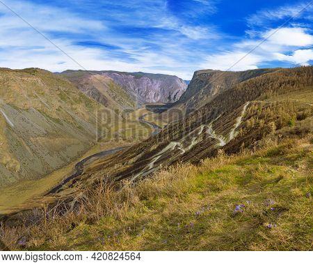 Beautiful Landscape With Katu-yaryk Pass Dangerous Road, High Mountain Pass In Altai Republic.