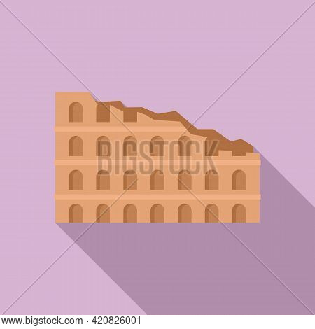 Ruins Sightseeing Icon. Flat Illustration Of Ruins Sightseeing Vector Icon For Web Design