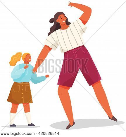 Woman With Scared Expression And Her Hand In Defenses Position. Mom Protects Daughter From Danger. F