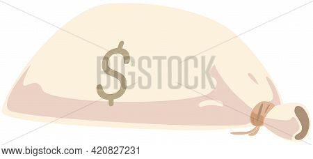 Large Cloth Bag With Dollar Symbol. Sack With Coins As Symbol Of Wealth And Success. Container With