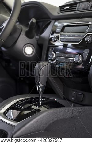 Interior Of New Modern Unknown Car With Automatic Transmission In Dealer Showroom. Modern Transporta