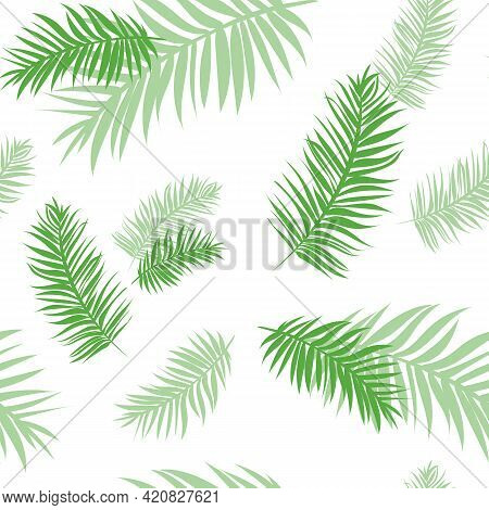 Tropical Seamless Pattern With Palm Leaves. Background From Green Tropical Leaves With Transparency