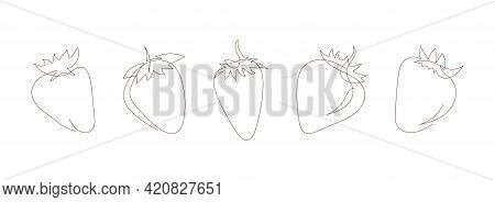 Simple Sketch Of Strawberries, Black Line, Doodle Style. Set Of Strawberry Line Art Icons, Outline S