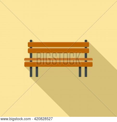 Wooden Bench Icon. Flat Illustration Of Wooden Bench Vector Icon For Web Design