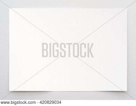 Watercolor Paper Texture Background With Clipping Path. White Paper Sheet With A Torn Edges Isolated