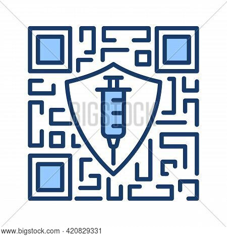Coronavirus Vaccination Qr Code. Electronic Digital Passport Of A Negative Corona Virus Test Result.