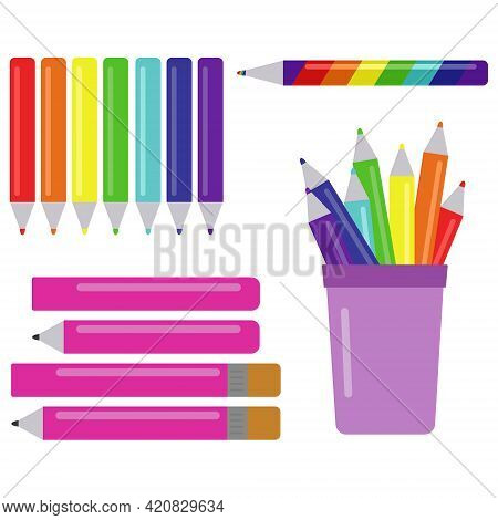 Set Of Multicolored Pencils, Rainbow Pencil And Various Pencils With Eraser Vector Illustration