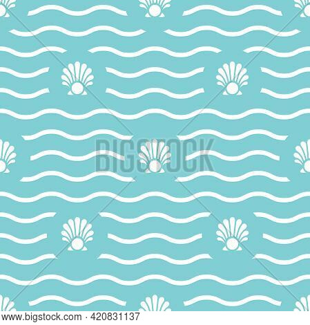 Seamless Wavy Pattern With Sea Shell And Pearl On Powder Blue Background. Shellfish Sea Ornament. Be