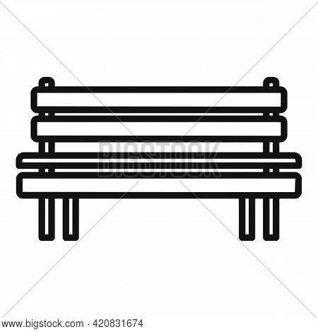 Wooden Bench Icon. Outline Wooden Bench Vector Icon For Web Design Isolated On White Background
