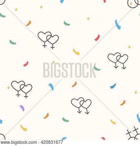 Seamless Pattern With Same Sex Signs. Lgbt Marriage Icons. Colorful Confetti. Queer Community. Pride