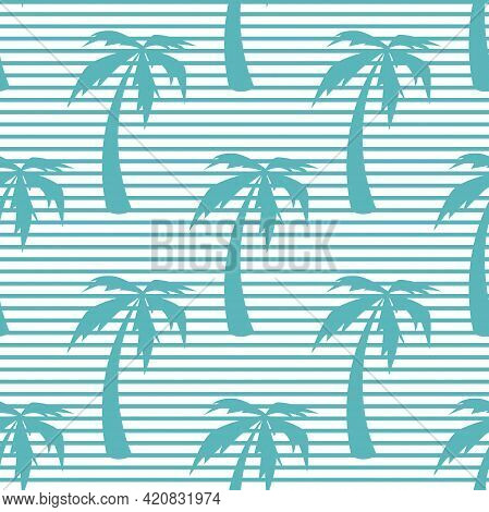 Seamless Striped Pattern With Palm Trees On White Background. Summer Tropical Vector Ornament. Flora