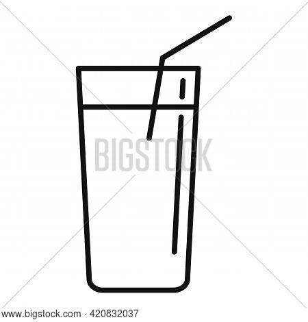 Juice Glass Icon. Outline Juice Glass Vector Icon For Web Design Isolated On White Background