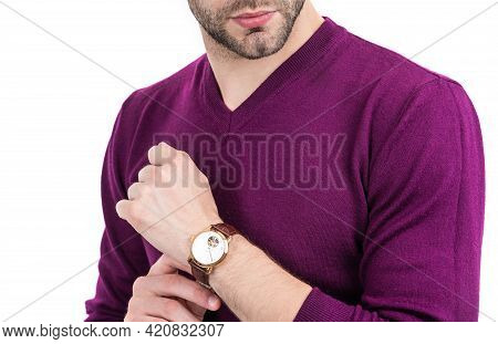 Watch That Embodies His Style. Bearded Man Cropped View Isolated On White. Wearing Wrist Watch