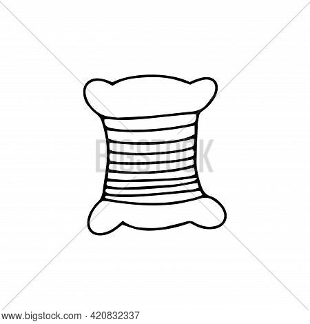 Bobbin Of Thread For Sewing. Black And White Vector Illustration In Doodle Style Isolated Single. Se