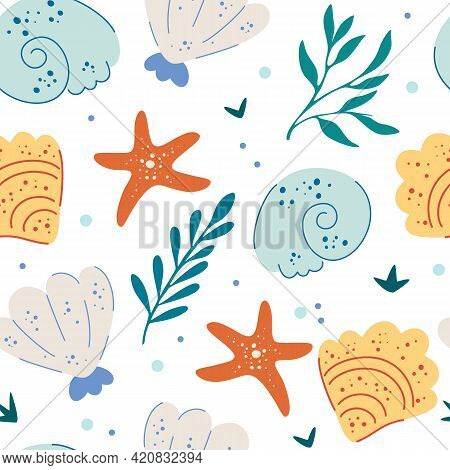 Sea Shells And Starfish Seamless Pattern. Cute Ocean Background. Fun Underwater Background, Great Fo