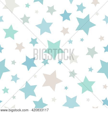 Seamless Abstract Pattern With Little Stars Of Different Size And Color On White Background. Nice An