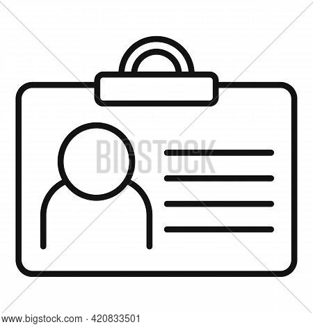 Security Id Card Icon. Outline Security Id Card Vector Icon For Web Design Isolated On White Backgro