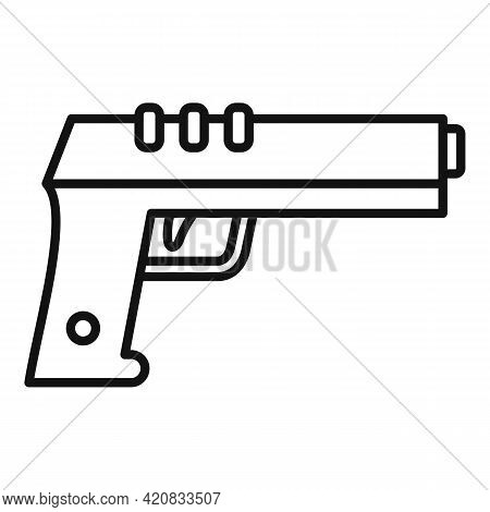 Security Service Pistol Icon. Outline Security Service Pistol Vector Icon For Web Design Isolated On