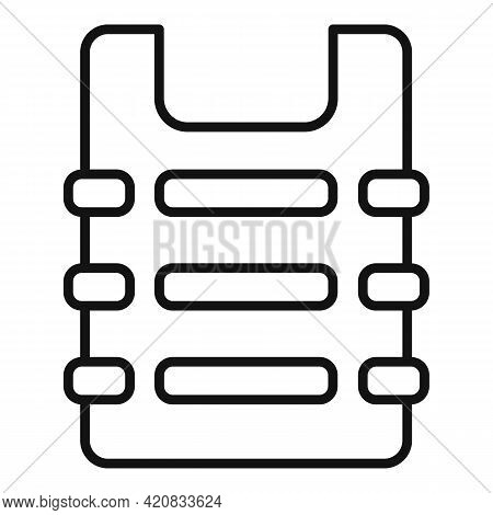 Security Service Bulletproof Icon. Outline Security Service Bulletproof Vector Icon For Web Design I
