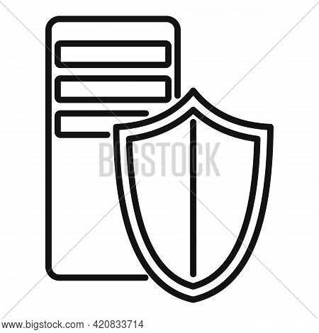 Security Service Server Icon. Outline Security Service Server Vector Icon For Web Design Isolated On
