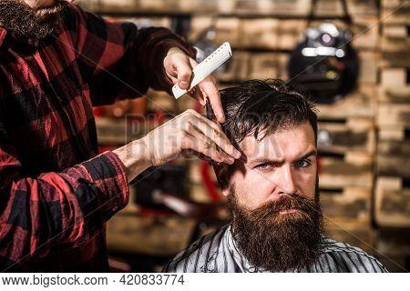 Barber Scissors, Barber Shop. Vintage Barbershop, Shaving. Man Hairstylist. Beard Man In Barbershop.