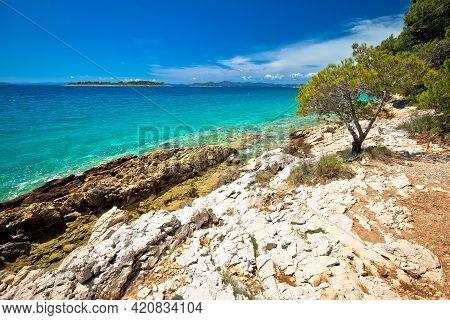 Idyllic Turquoise Rocky Beach Landscape View In Zadar Riviera, Pakostane In Dalmatia Region Of Croat