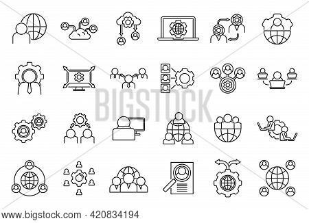 Smart Outsource Icons Set. Outline Set Of Smart Outsource Vector Icons For Web Design Isolated On Wh
