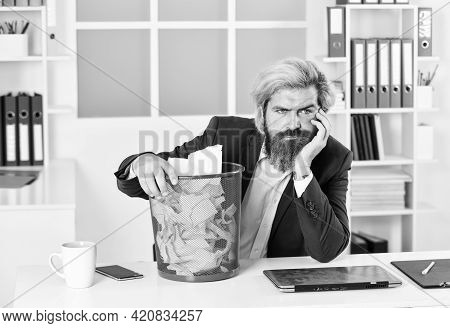 Need To Find It. Businessman Hold Trashcan. Man In Office Look For Lost Note In Paper Bin. Crumpled