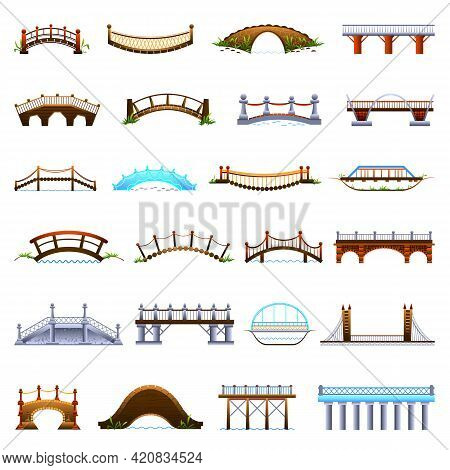 Bridges Icons Set. Cartoon Set Of Bridges Vector Icons For Web Design