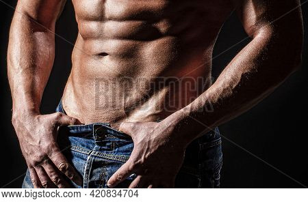 Muscular Torso Close Up. Torso Concept. Fashion Portrait Of Strong Brutal Guy. Muscular Sexy Man Wit