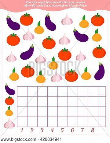 A Game For Children. Count The Number Of Vegetables, Fill In The Same Number Of Cells In The Table,