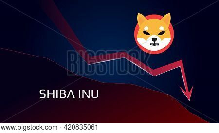 Shiba Inu Shib In Downtrend And Price Falls Down. Crypto Coin Symbol And Red Down Arrow. Uniswap Cru