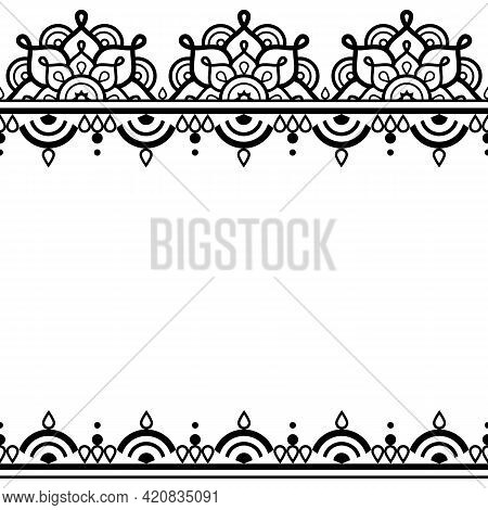 Indian Henna Tattoo Mehndi Traditional Style Vector Greeting Card Or Wedding Invitation Design Patte